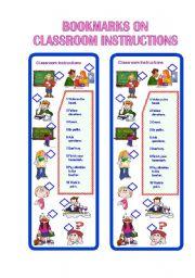 English Worksheet: Bookmarks on Classroom Instructions II ** fully editable