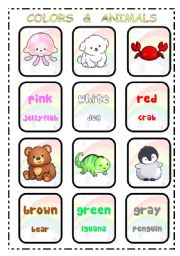 COLORS & AND ANIMALS - flash cards