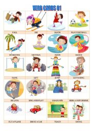 English Worksheets: VERB cards 01