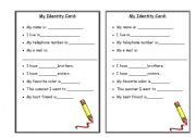 English Worksheets: my id card