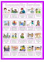 Worksheets Community Service Worksheet community service volunteering pictionary