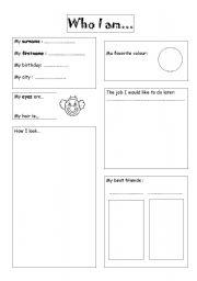 english worksheets who i am. Black Bedroom Furniture Sets. Home Design Ideas