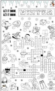 English Worksheet: WINTER CROSSWORD