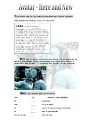 English Worksheet: Avatar: Here and Now