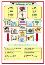 English Worksheet: Diphthong ee/ea