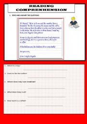 English Worksheets: REDING AND QUESTIONS