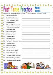Past Tense Sentence Corrections (B&W version & Key)
