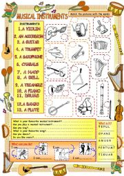 English Worksheet: Elementary Vocabulary Series3 - Musical Instruments