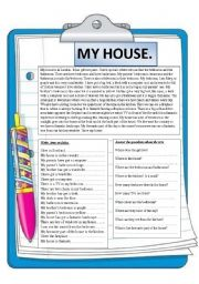 English Worksheet: My house. Reading comprehension.