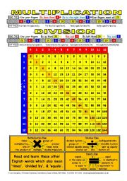 NUMBERS 003 Multiply and Divide Chart - 0 to 12