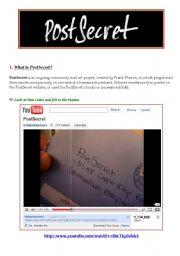 English Worksheets: PostSecret - Lesson Plan 1/3