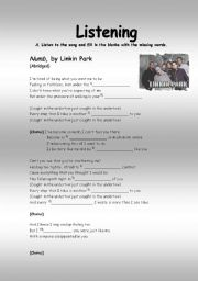 English Worksheet: Listening activity: Numb, by linkin park
