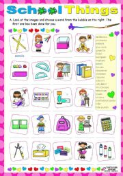 English Worksheet: School things
