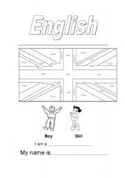 English Worksheet: First school day--Colour British Flag