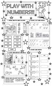 English Worksheets: PLAY WITH NUMBERS/ FOR LITTLE KIDS/ FULLY EDITABLE