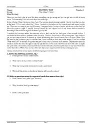 English Worksheets: reading comprehension about personal experience