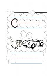 English Worksheets: C writing.  Cat and car.