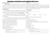 English Worksheet: Drawing conclusions and Making inference