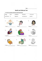 English Worksheet: Sickness and Remedies Test