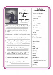 English Worksheets: The Elephant Man - The Movie