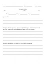English worksheets Book Report Format