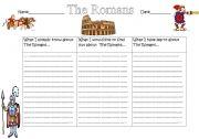 English Worksheet: The Romans KWL Chart