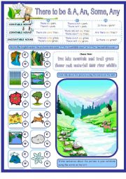 English Worksheet: There to be with Countable & Uncountable Nouns & a, Some & Any. 1 page plus Key.