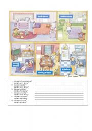 English Worksheets: Rooms-Action part 5