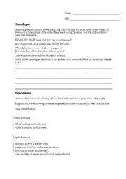 English Worksheets: Monologue, Foreshadowing, and Imagery