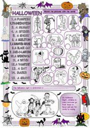 English Worksheet: Elementary Vocabulary Series16 - Halloween