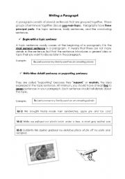 English Worksheets: How to write a paragraph