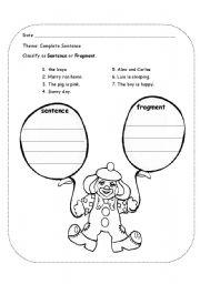 English Worksheets: sentence fragment clown