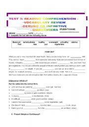 English Worksheets: TEST 3: READING COMPREHENSION
