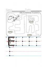 English Worksheets: E writing