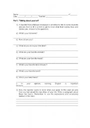 English Worksheets: talking about yourself