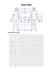 English Worksheets: Body Parts - Word Search