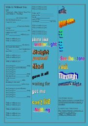English Worksheets: SONG: U2 - With Or Without You