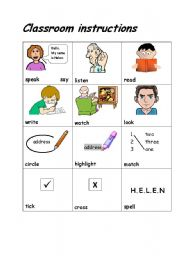 Classroom instructions, a game (editable) esl worksheet by ludique22.