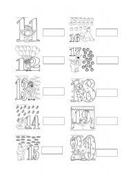 English Worksheet Numbers 11 20
