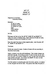 English Worksheets: ACT IT, DRAW IT, SCULPT IT