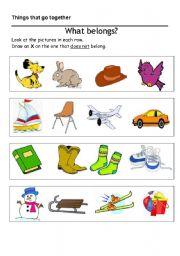 English Worksheets: What belongs