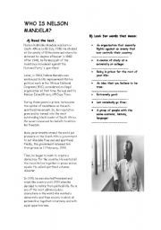English Worksheet: WHO IS NELSON MANDELA?