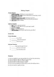 English Worksheet: Language Functions- Making a Request