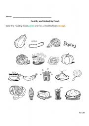 English worksheets: Healthy and Unhealthy Foods
