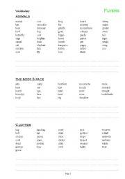 English Worksheets: Cambridge Flyers Vocabulary writing