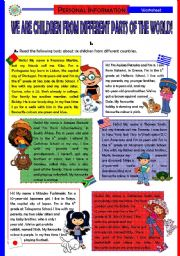 English Worksheet: We are children from different parts of the World! (5 pages + Answer Key)