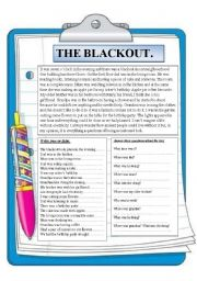 English Worksheets: The blackout. Reading comprehension.
