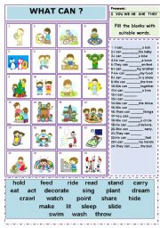 English Worksheets: CAN (Ability) with PRONOUNS