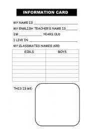 English Worksheets: INFORMATION CARD