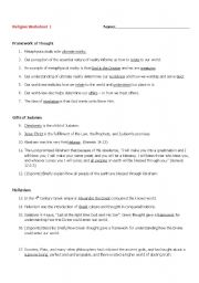 English Worksheets: Religion Worksheet 1